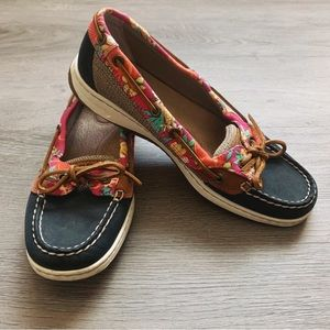 Sperry Topsider Beachy Blue Leather Boat Shoes 7